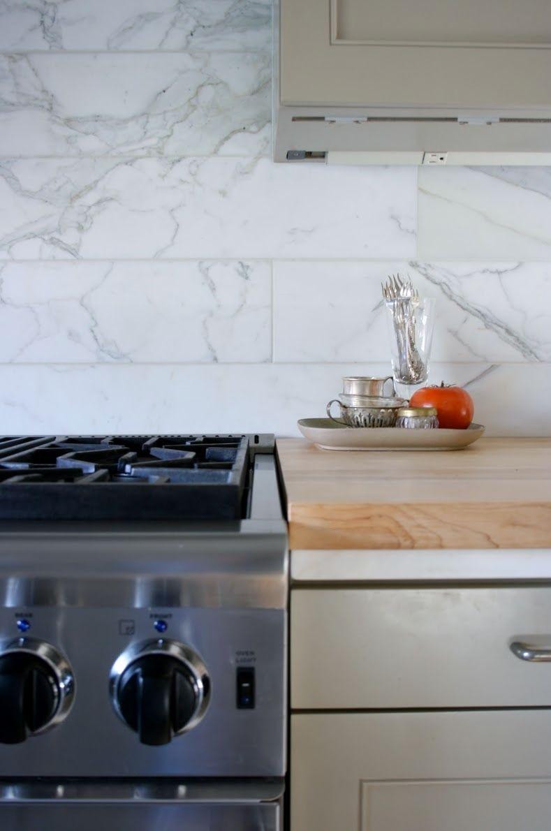 Marble Backsplash Wood Counter Marble Backsplash Kitchen