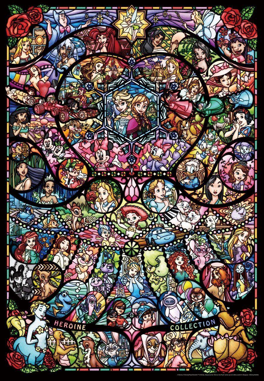 1000ピース ジグソーパズル ディズニー Amp ディズニー ピクサー ヒロインコレクション ステンドグラス ピュアホワイト 51x73 5cm Vitrail Disney Art Disney Disney