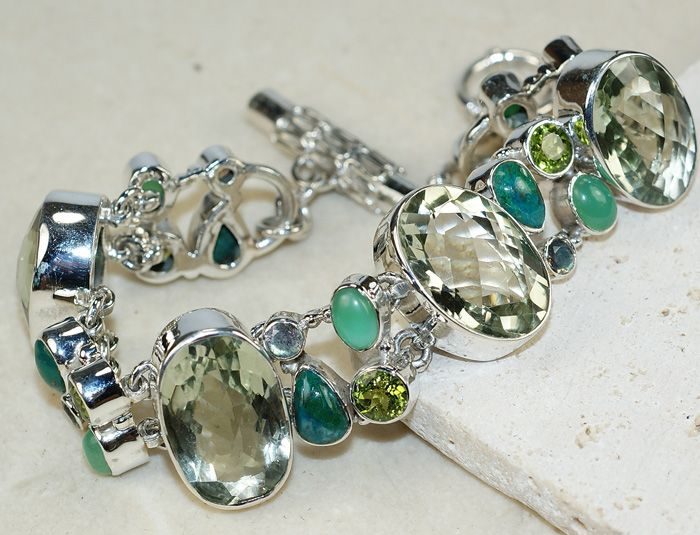 Green Amethyst	,Mixed Faceted Stones bracelet designed and created by Sizzling Silver. Please visit  www.sizzlingsilver.com. Product code: BR-8868