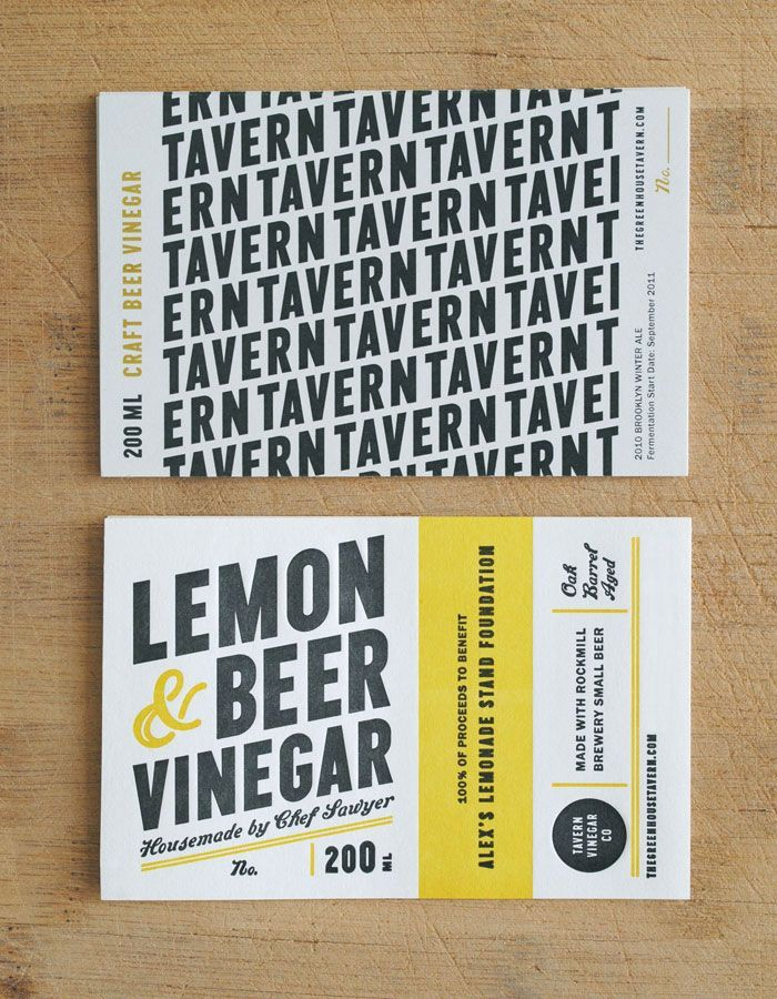 Tavern Vinegar Company | Typography inspiration, Business cards and ...