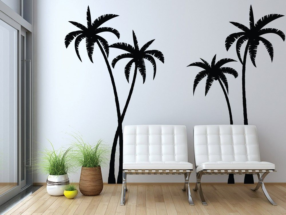 Tropical Palm Trees Silhouette Wall Decal Tropical Wall Decor