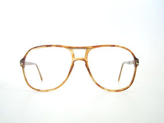 Vintage 1980s Bill Blass Large Aviator Tortoise Shell Glasses