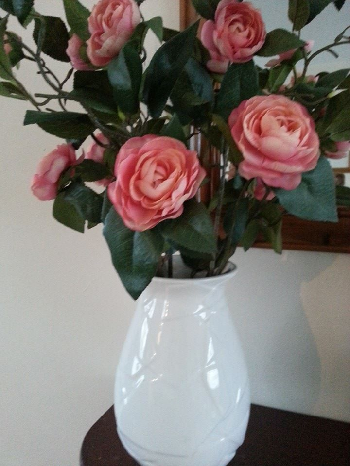 Artificial Floral Arrangement - Pink Camellia in White Embossed Vase www.angelfloraldesigns.co.uk