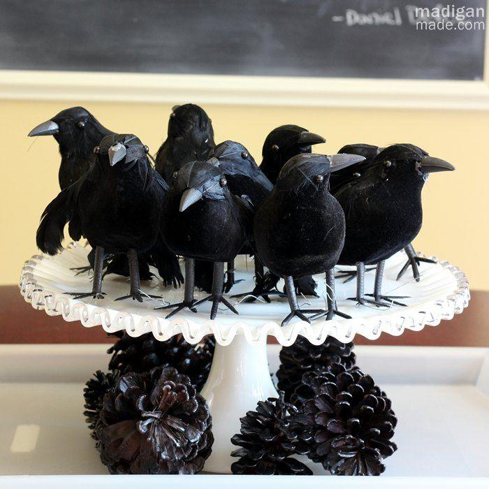 vintage halloween decorating ideas blackbirds centerpiece on milkglass for halloween madiganmade - Halloween Crow Decorations