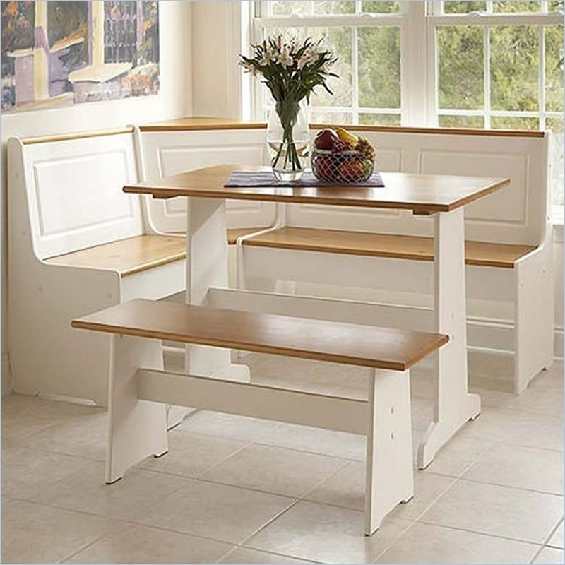 Breakfast Corner Nook Table Set In White