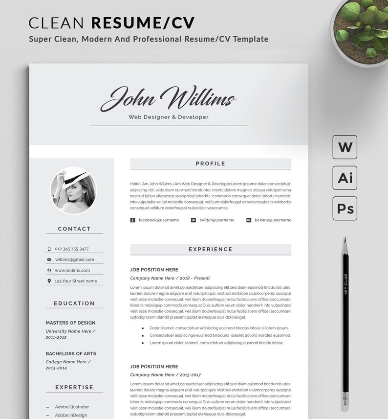 Resume Template Modern Professional Resume Template For Word Cv Resume Cover Letter Resume Template Word Resume Template Professional Cover Letter For Resume