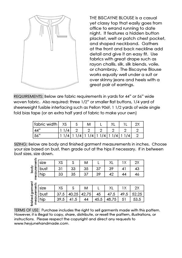 ce4a3e73dca Biscayne Blouse pdf pattern by Hey June Handmade