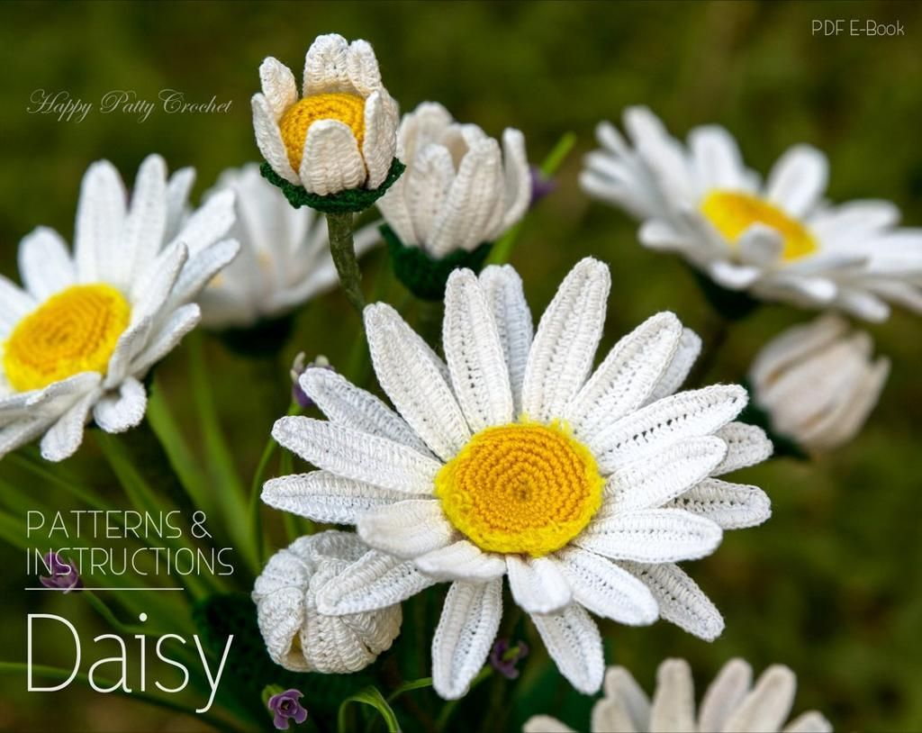 4 name crocheting shasta daisy flower crochet pattern crochet shasta daisy flower pattern by happy patty crochet this very popular blossom will freshen any table or windowsill and is a wonderful supporting izmirmasajfo Choice Image