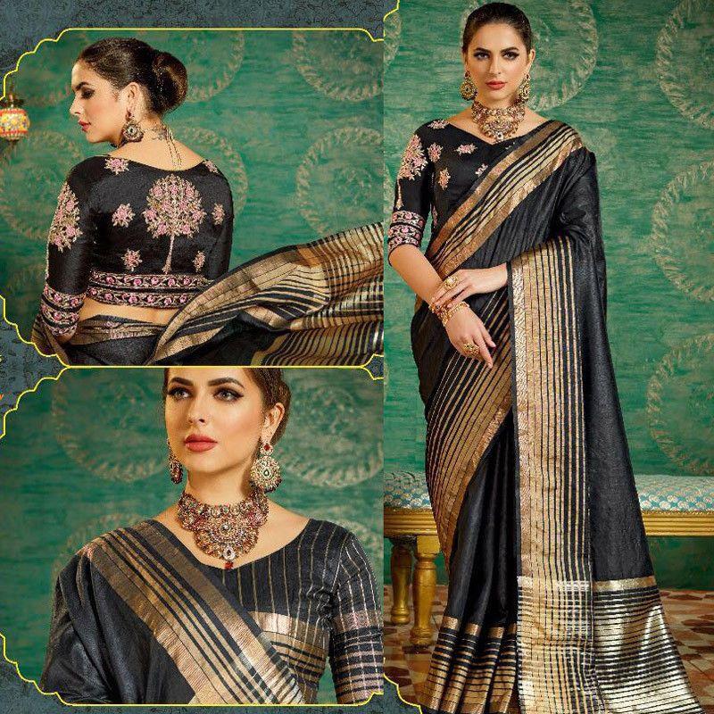 Bollywood Hand Crafted Black Designer Saree Indian Silk Sari Evening Party Dress