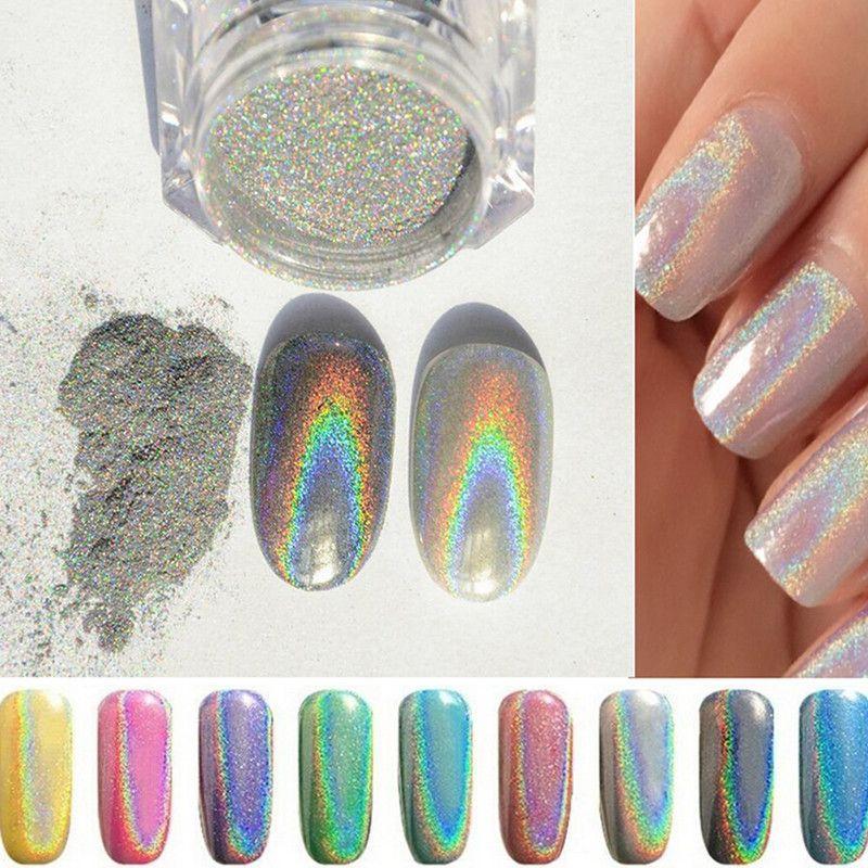 New 1g/box Shinning Mirror Powder Nail Gel Glitter Polish Silver ...