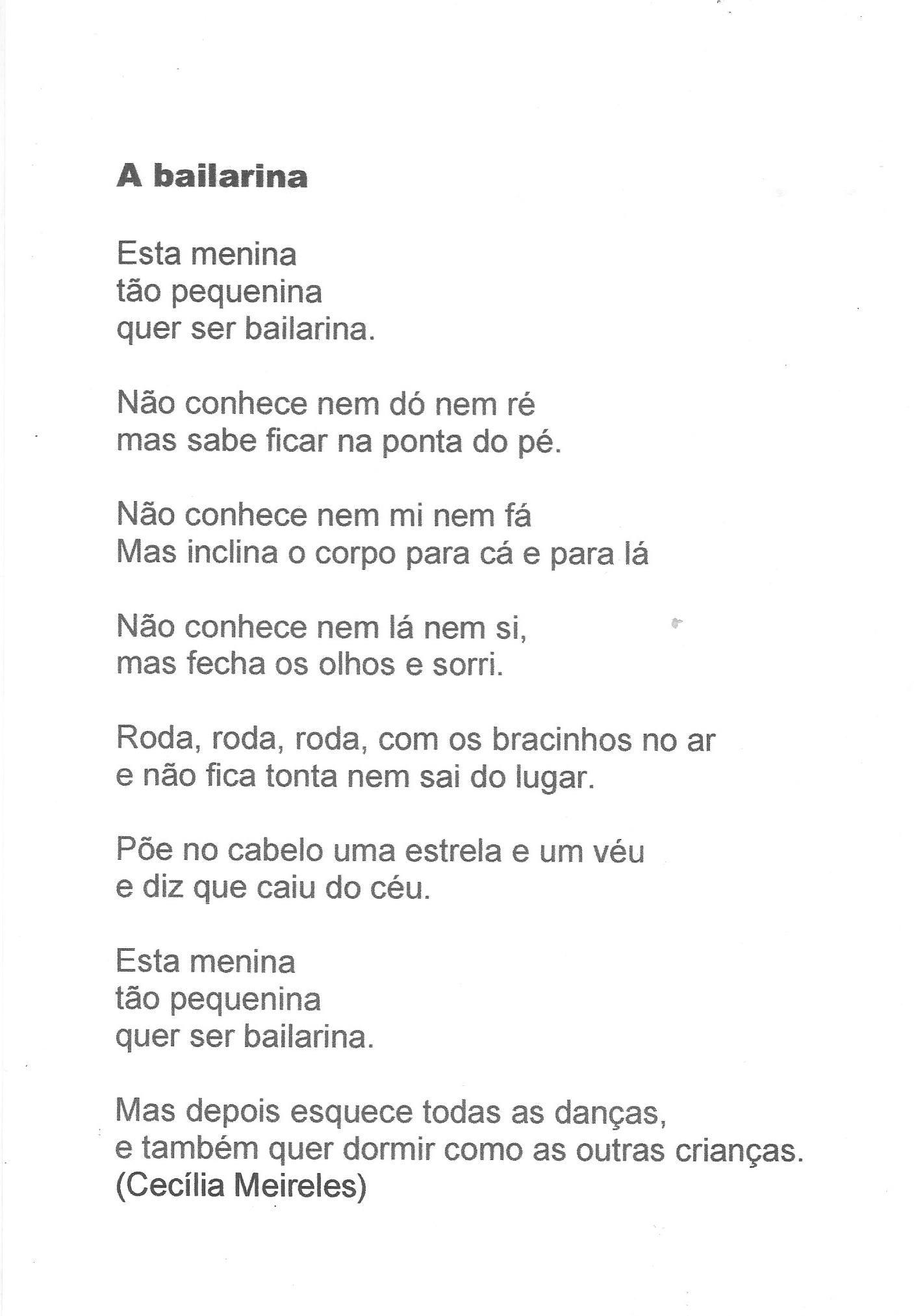 A Bailarina De Cecilia Meireles Bailarina Meireles Poesia