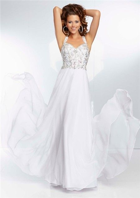 Sweetheart Neckline Flowing Long White Chiffon Beaded Prom Dress ...