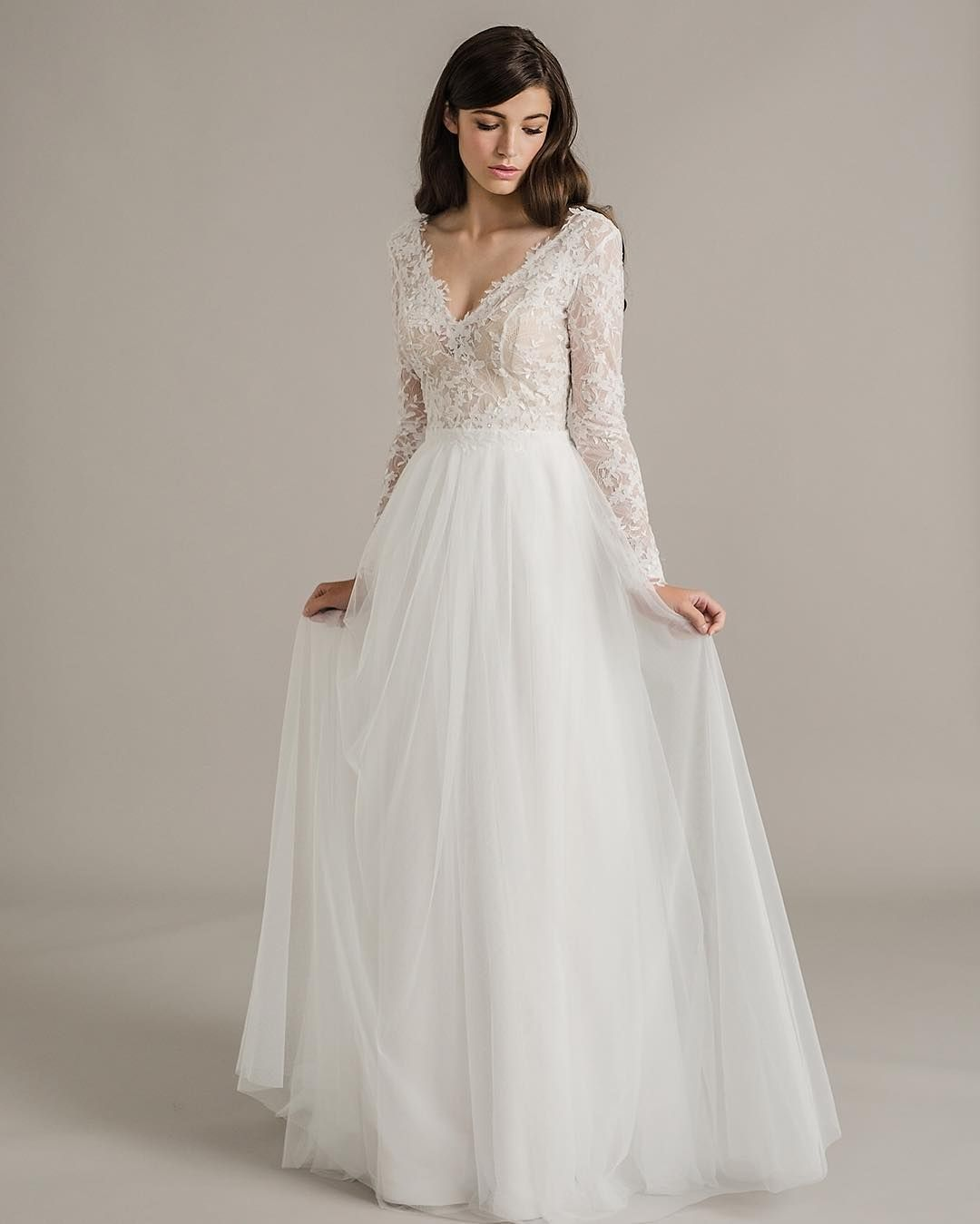 Long sleeved, low neck, waisted, wedding gown by @sally_eagle_bridal ...