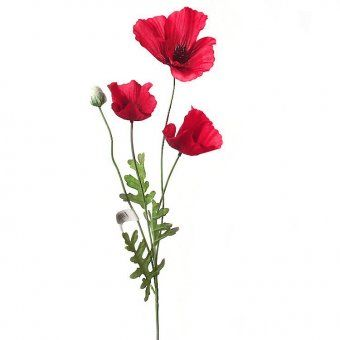 This artificial poppy flower stem with three flame red flowers and this artificial poppy flower stem with three flame red flowers and one flower bud is as realistic as measures 62cm tall 32cm flowers and leaves mightylinksfo