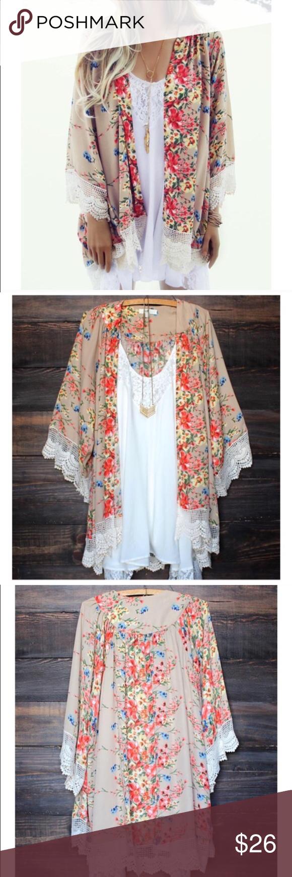 Floral chiffon Kimono cardigan Boutique | Floral kimono, Kimonos ...