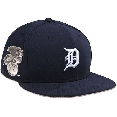 4fe952f9 Mens Detroit Tigers New Era Navy Blue Metal Gamer 59FIFTY Fitted Hat ...