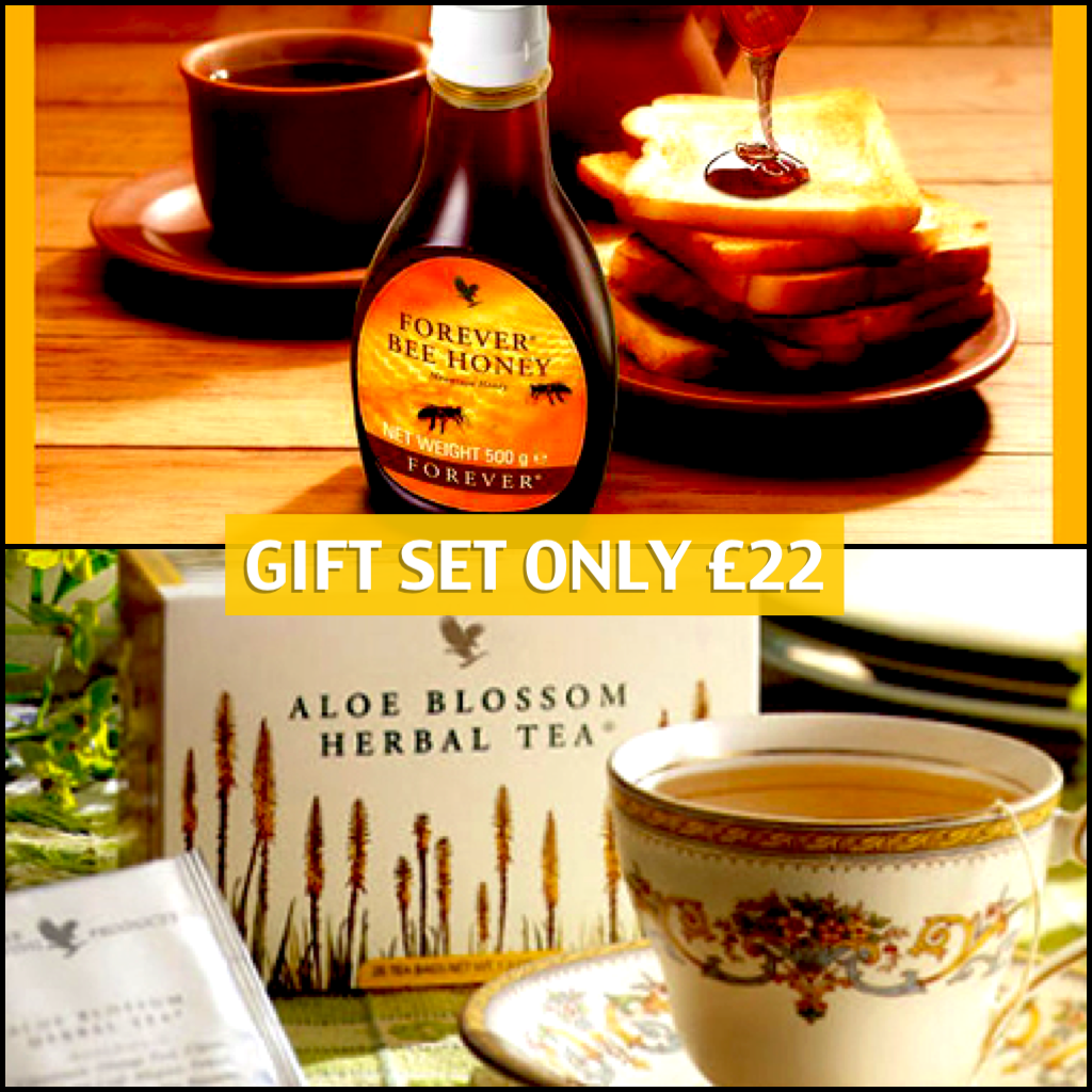 Incredible pure honey and a box of Aloe Blossom tea , which when made smells of sweet cinnamon buns! YUM!