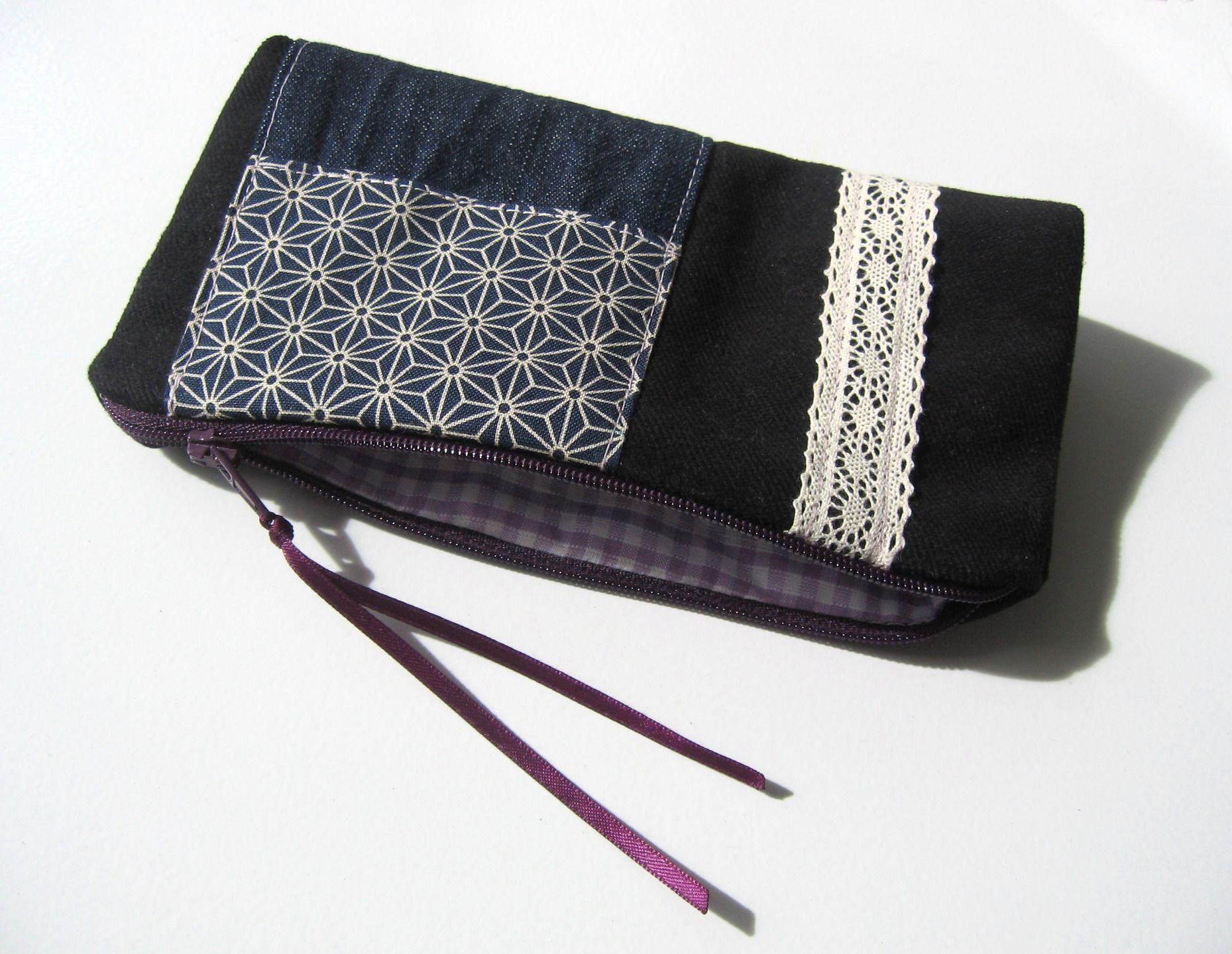 Trousse à maquillage en velours noir, jeans, tissu japonais motif Asanoha, carreaux vichy, dentelle et lien satin : Trousses par tresors-des-baines