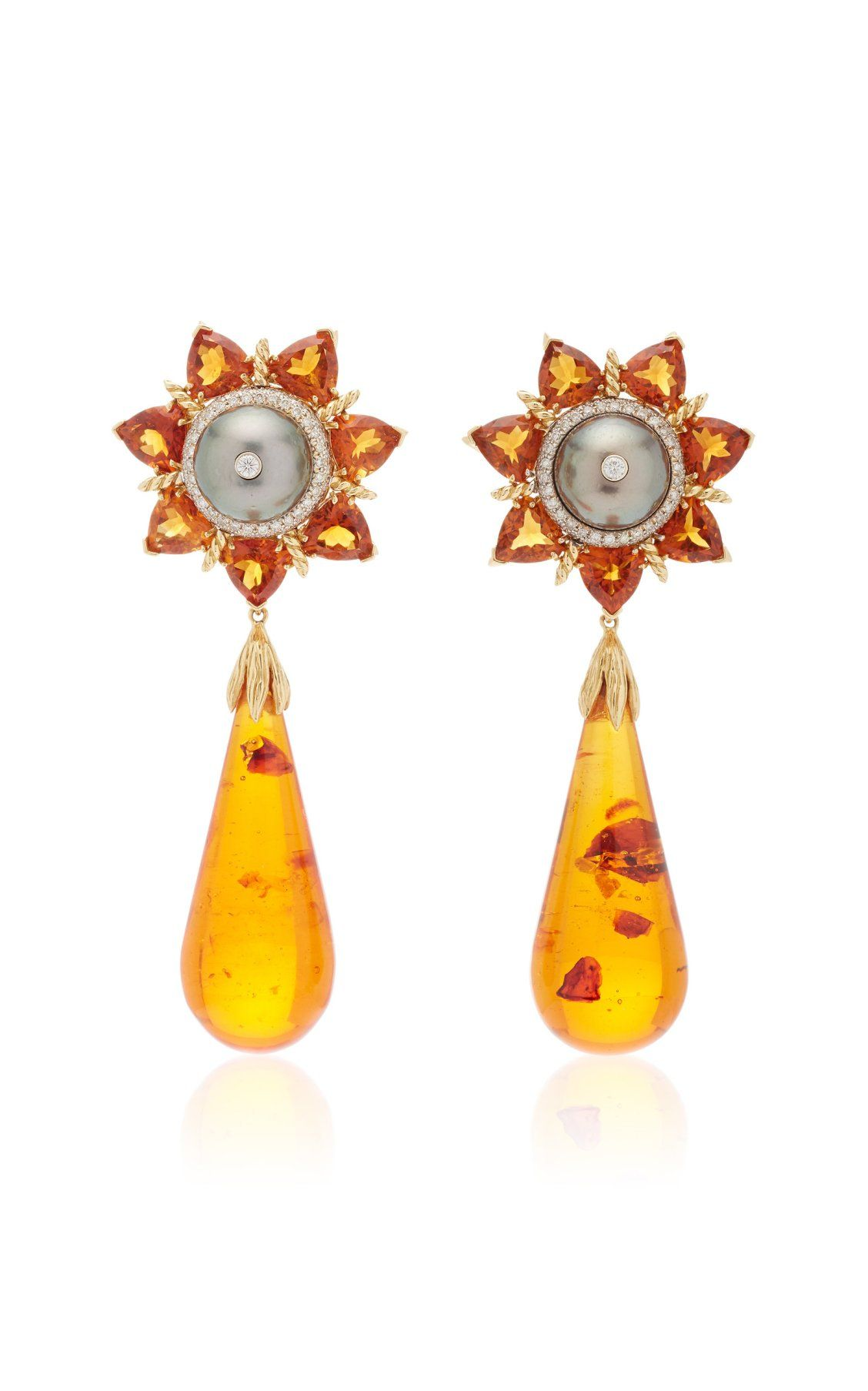 Tony Duquette One Of A Kind 18k Yellow Gold Amber Citrine Diamond And Black Pearl Earrings Black Pearl Earrings Black Pearl Citrine