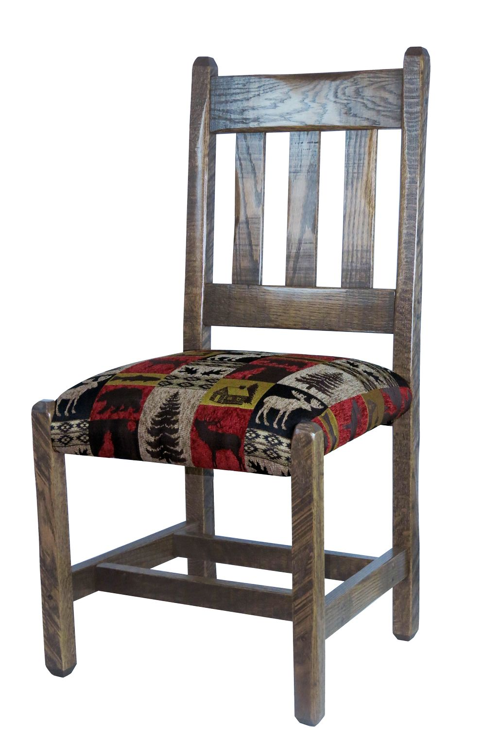 Barnwood Dining Chairs With Upholstered Seat   Red Cabin Fabric