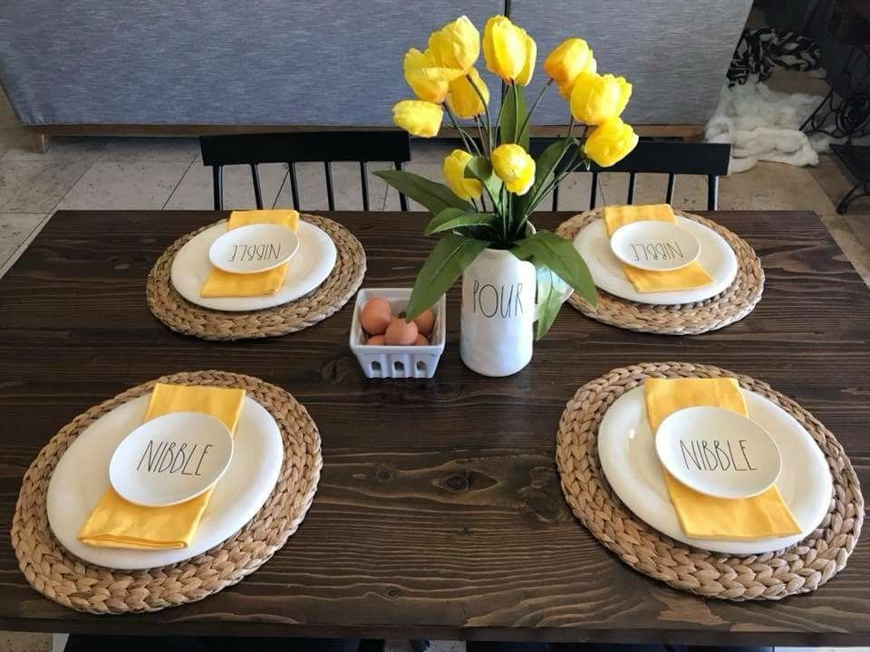 Yellow Table Setting Kitchen Table Decor Everyday Kitchen Table Decor Dinning Table Decor