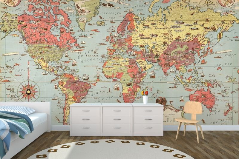 Kids vintage world map room bedrooms and kids rooms kids vintage world map wallpaper muralswallpaper gumiabroncs