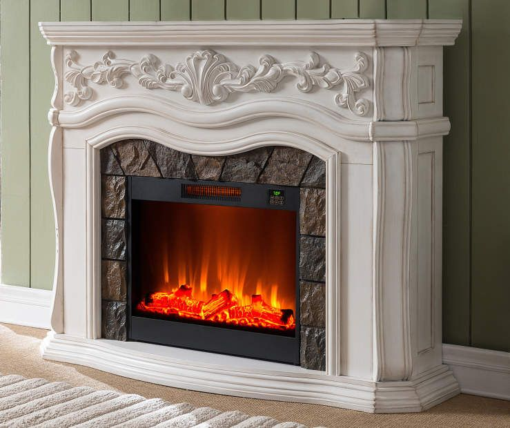 62 Grand White Electric Fireplace At Big Lots White Fireplace