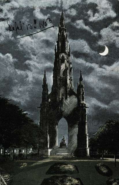 Valentine Postcard -  Moonlight series  -  The Scott Monument, Crescent Moon  -  Posted 1903