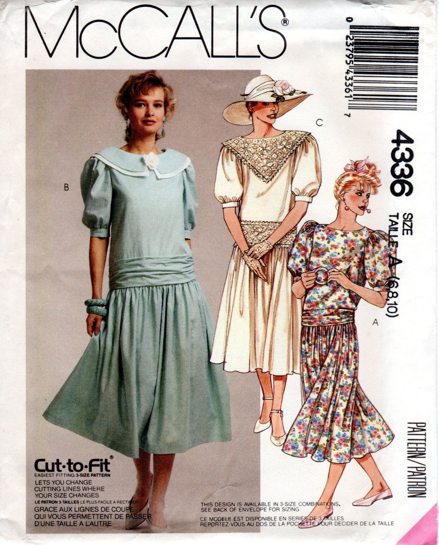 1980s drop waist dress with cummerbund vintage sewing pattern 1980s drop waist dress with cummerbund vintage sewing pattern mccalls 4336 size 6 8 10 uncut ff jeuxipadfo Choice Image