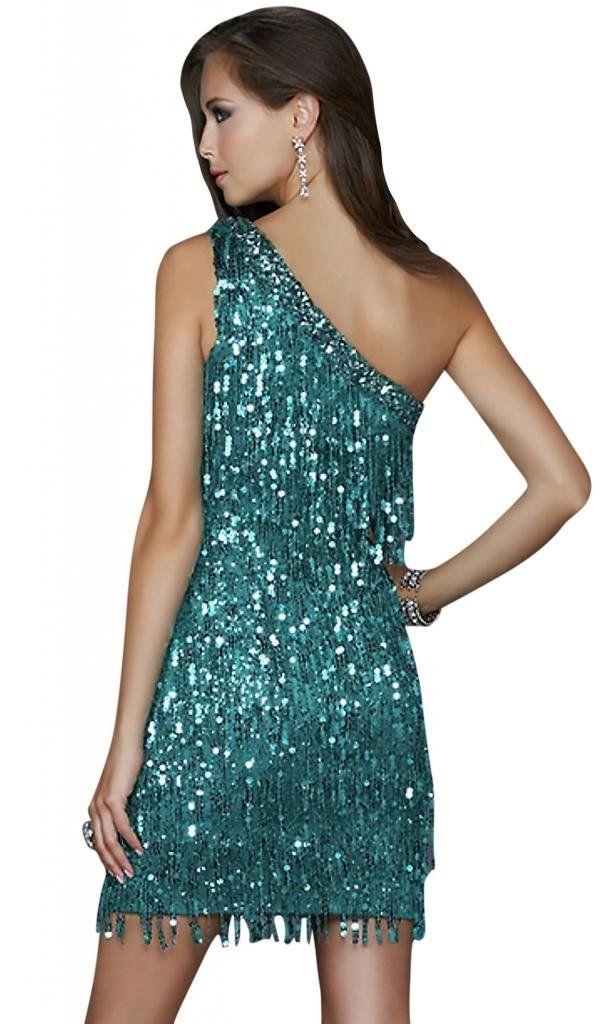 Whatabeautifullife Women's Sequin Tassles One-Shoulder Satin Evening Dress Size 6 Color Green