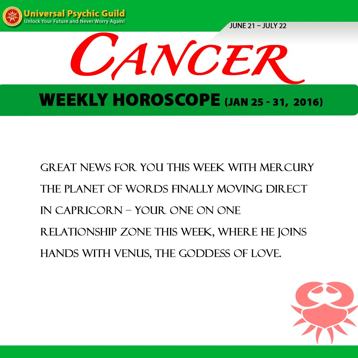 Cancer Single Love Horoscope Weekly - CancerWalls