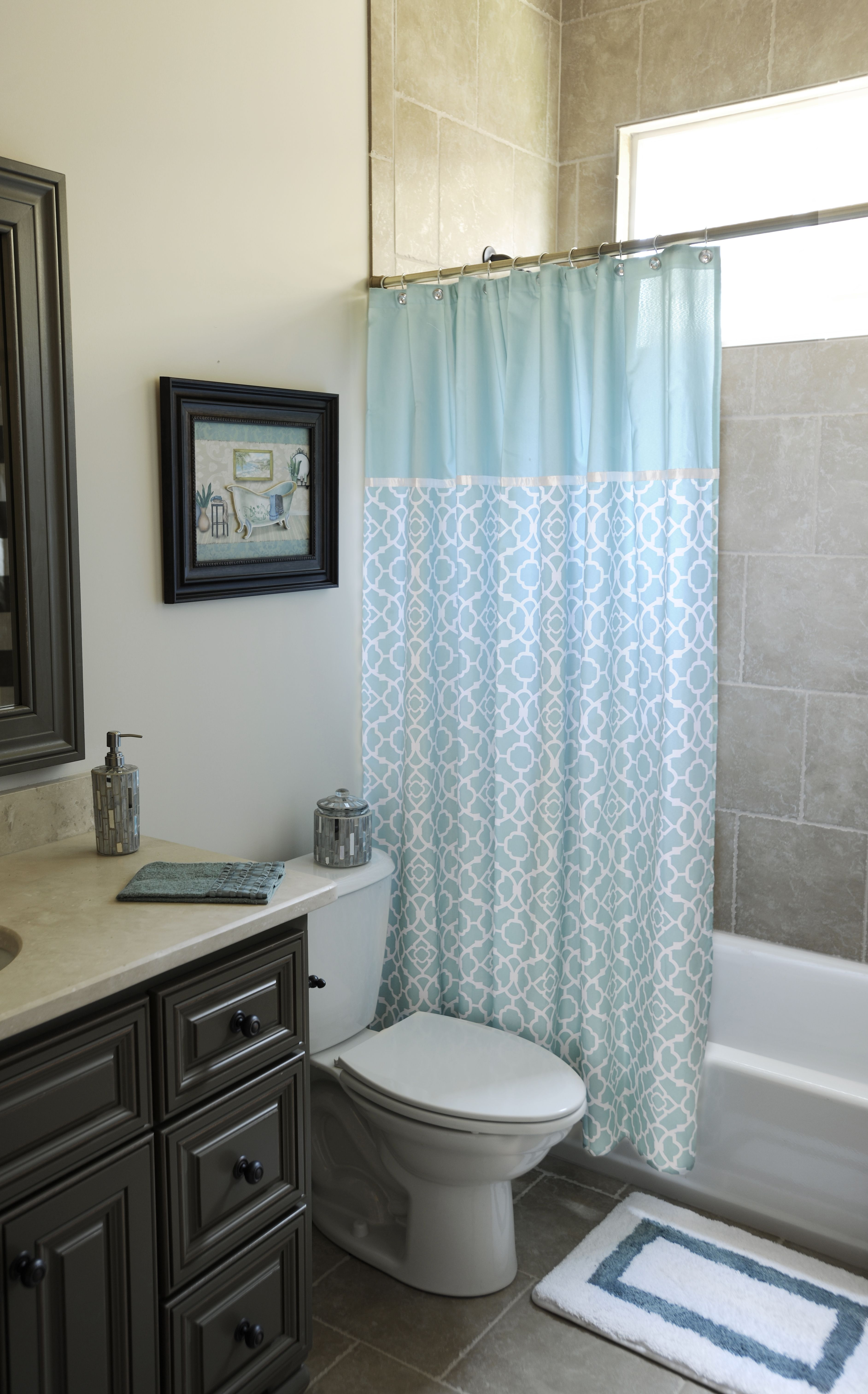 Aqua blue shower curtain bath blue shower curtains and for Bathroom decor kirklands