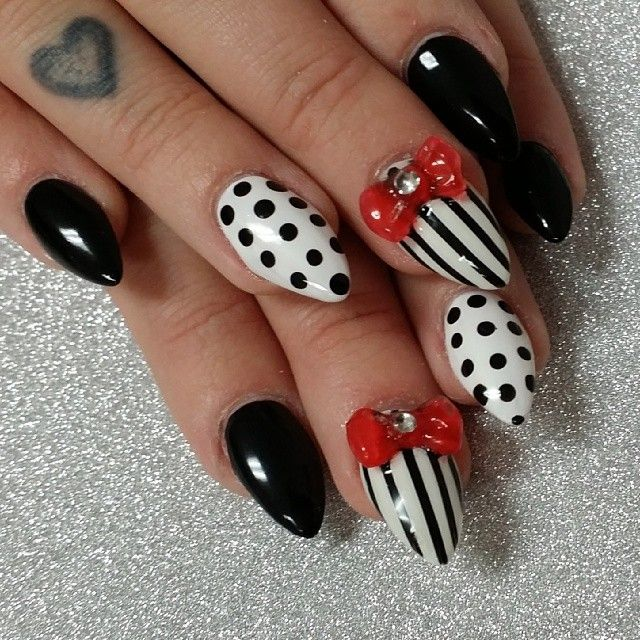 Stiletto Black And Red Nail Art With 3d Bow Stripes Polkadots Red