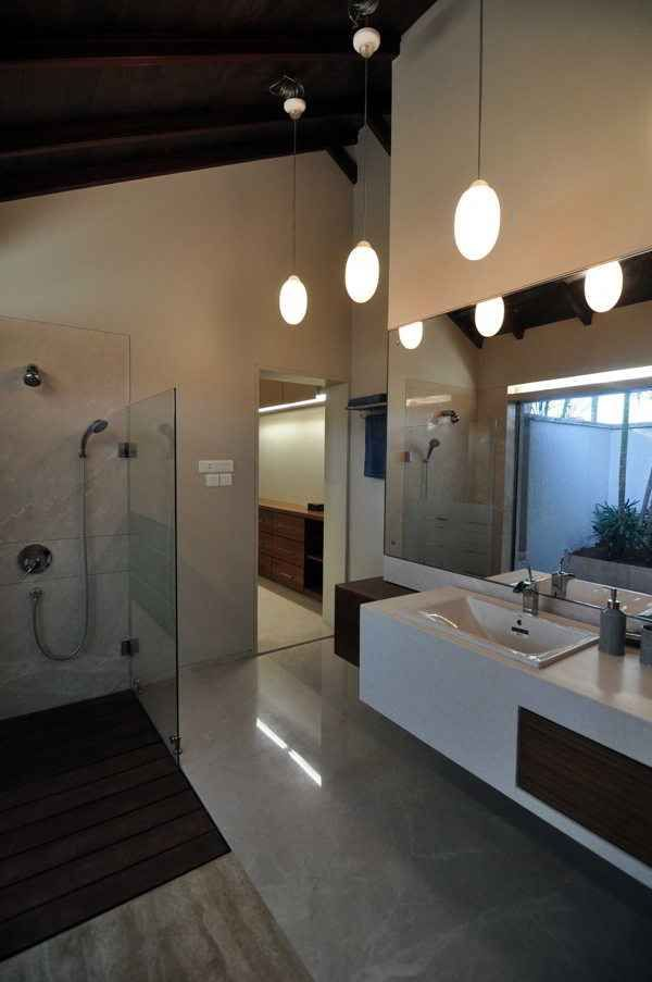 master bathroom with hanging ceiling lights design by shroffleon architects in mumbai maharashtra india - Bathroom Designs In Mumbai