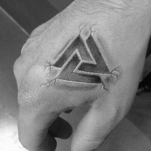 Stone Valknut 3d Guys Hand Tattoos