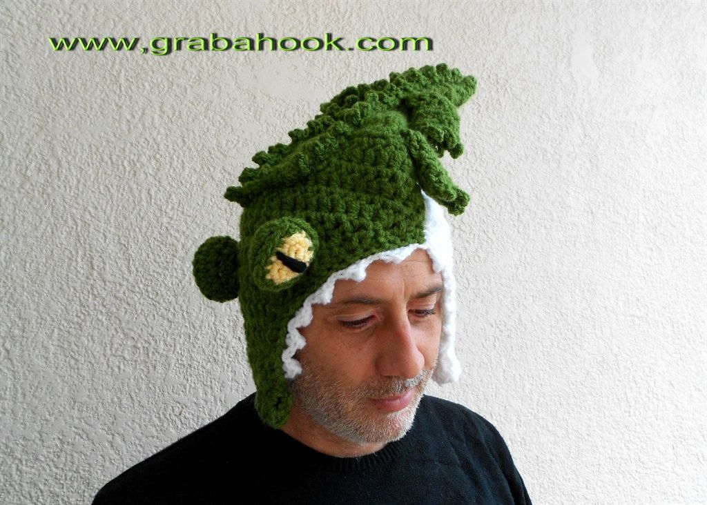 Funny Crocodile hat Eating your Head-Crochet pattern -PDF. now this ...