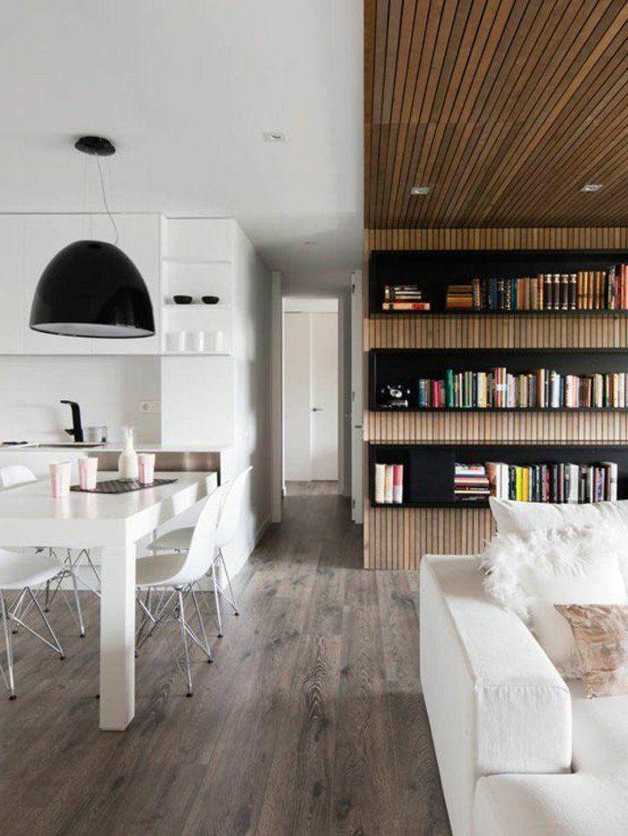 La bibliothèque murale en 65 photos inspirantes - carrelage mur cuisine moderne