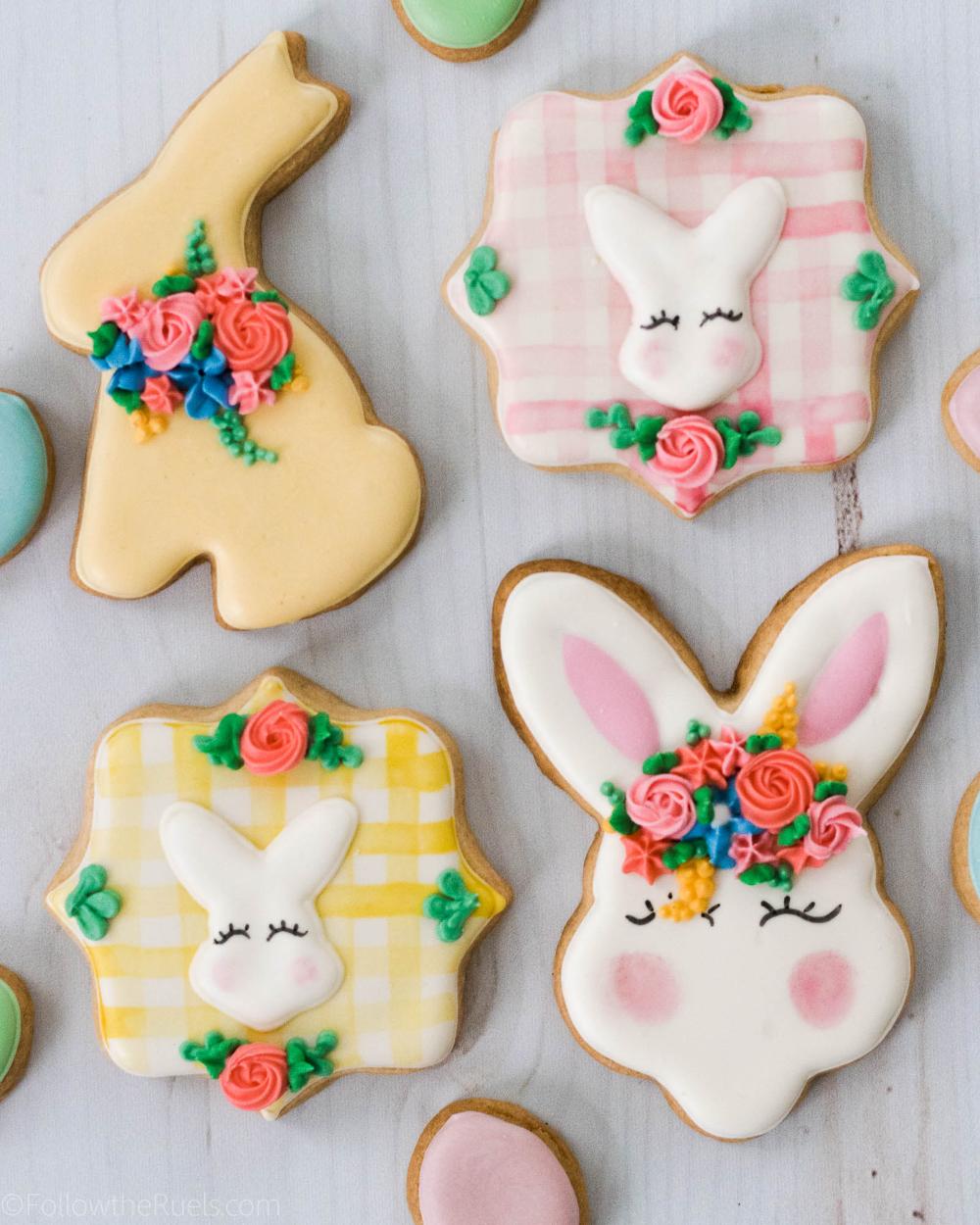 Flower Crown Easter Bunny Cookies In 2021 Easter Bunny Cookies Easter Bunny Cookies Decorated Bunny Cookies