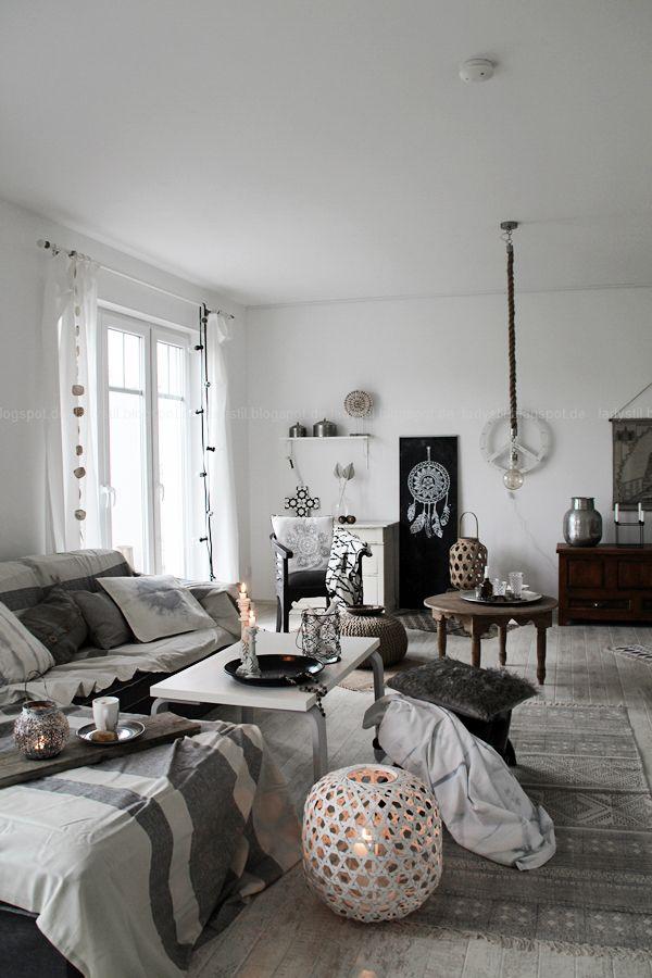 DIY Boho-Tasse Indianerschmuck Decoration and Interiors - wohnzimmer grau weis holz