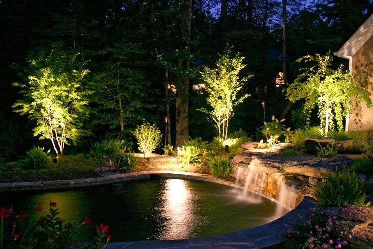Great Schwimmteich im Garten mit Teichbeleuchtung um das Wasser
