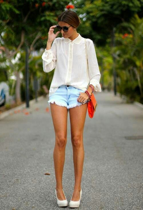 embellished top + cutoffs