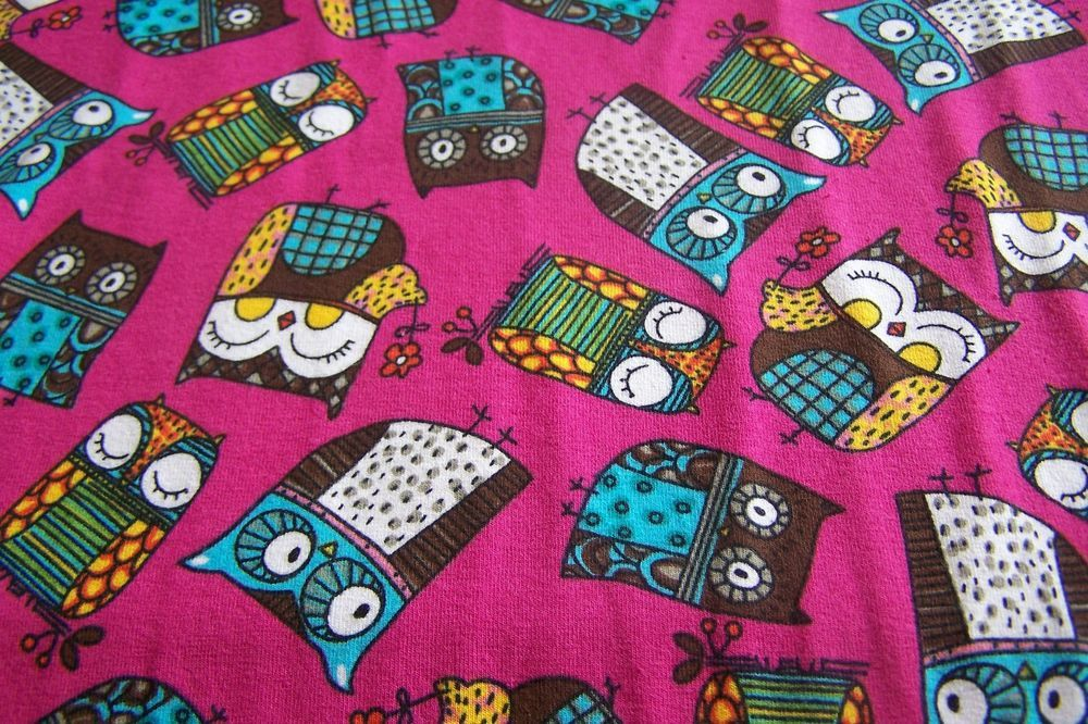 Meterware Kinderstoff Baumwolljersey Jersey Eulen Eule Uhu Owls Blumen pink