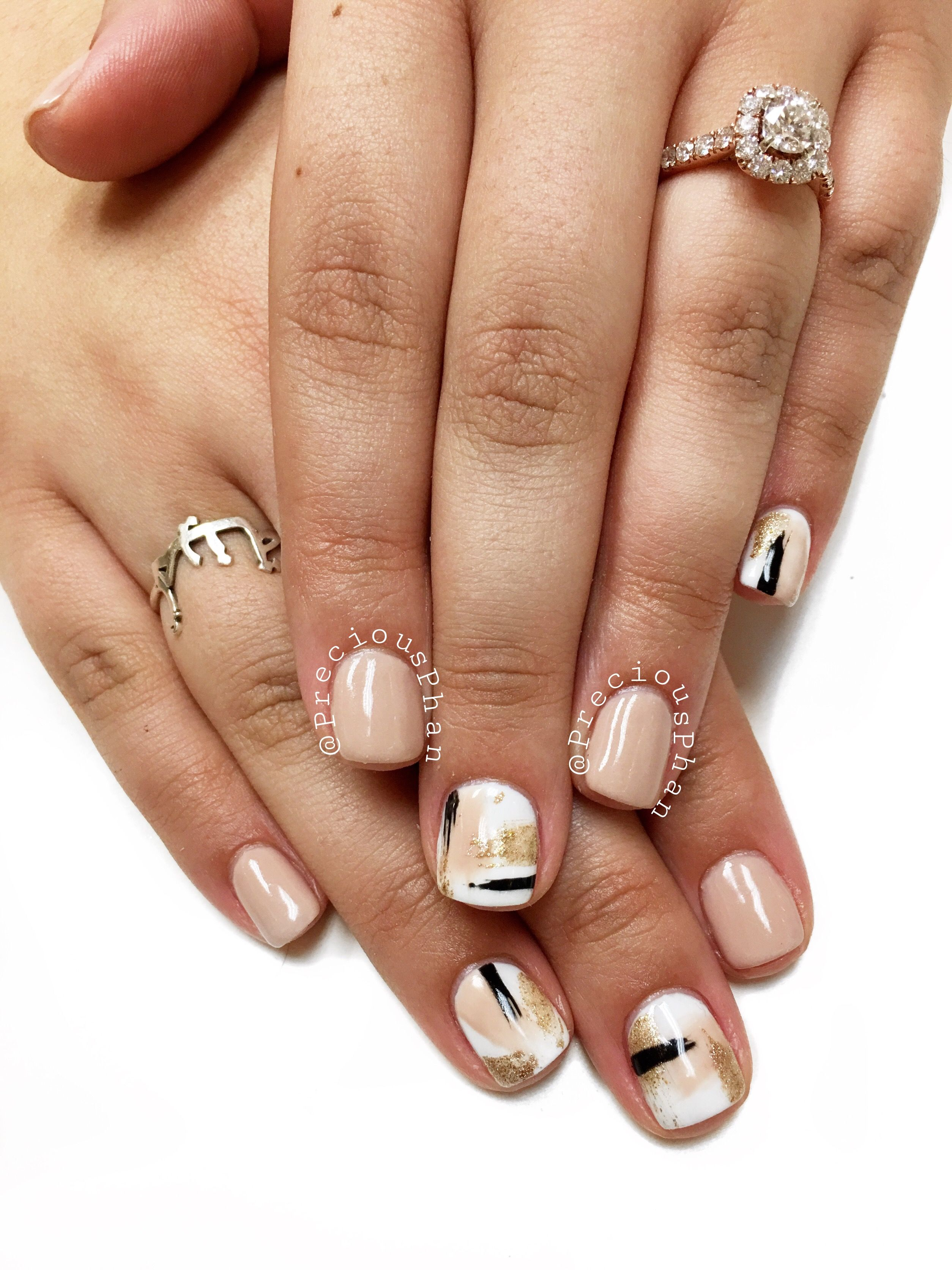 abstract nails. brown nude