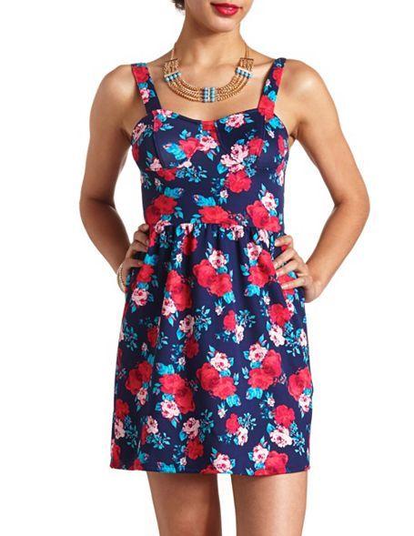 Floral Print Bustier Skater Dress: Charlotte Russe