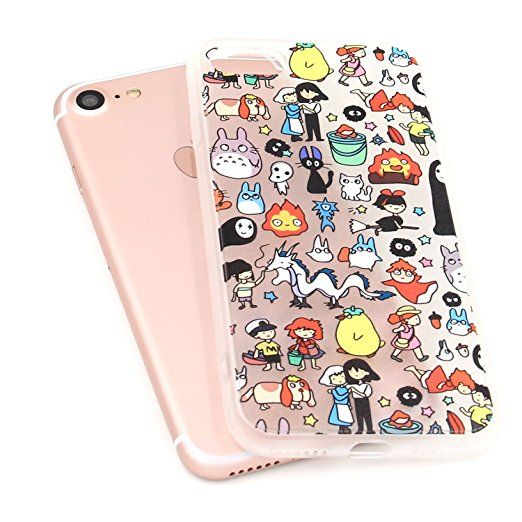 Amazon.com: iPhone 7 Case, MC Fashion [Ultra Thin] 3D Print Japanese Cartoon Pattern Transparent Hybrid PC and TPU Rubber Flexible Slim Skin Medium Softness Case for iPhone 7 (2016) (Cartoon All in One): Cell Phones & Accessories