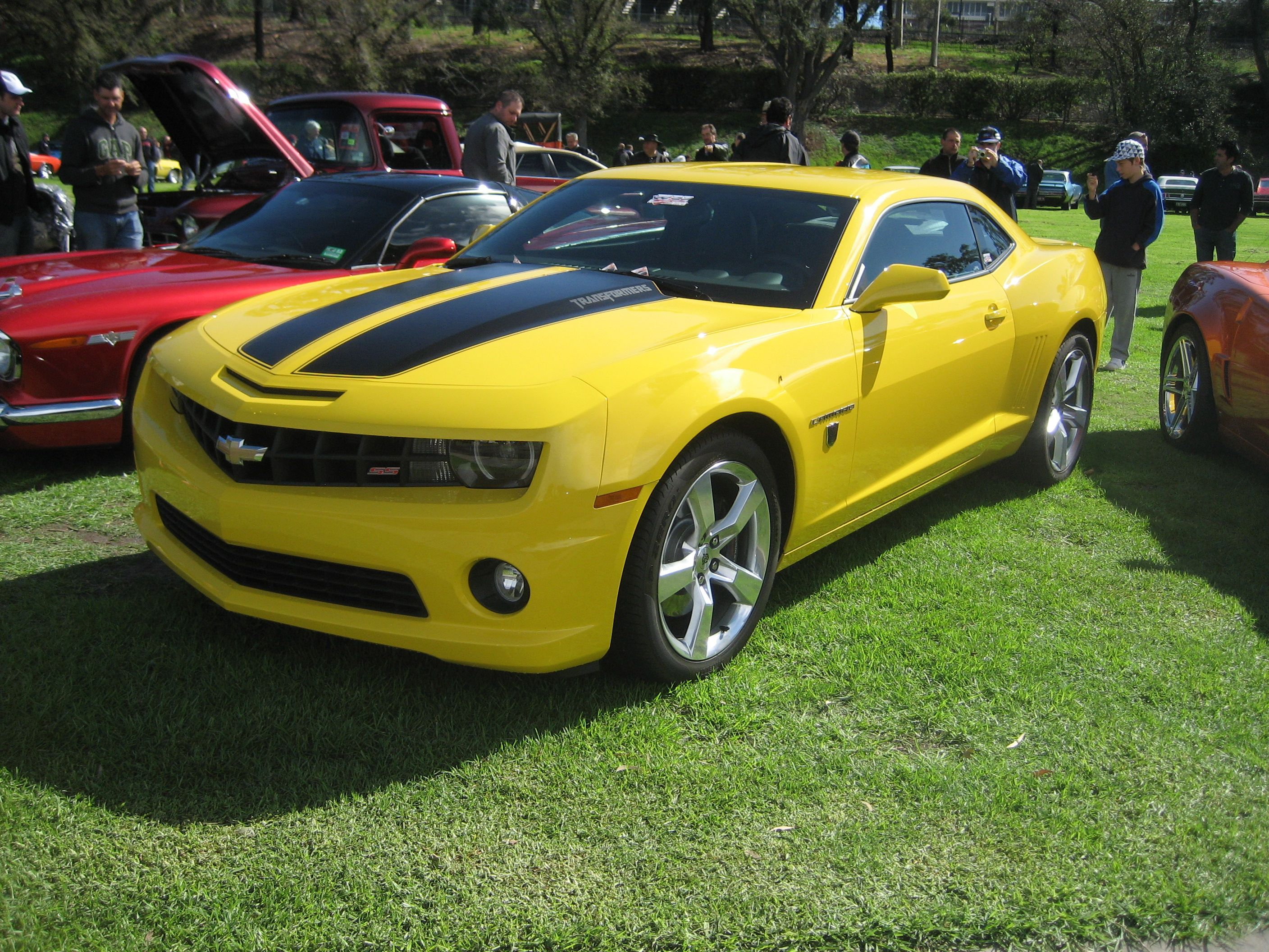 Yellow Camaro Ss with Black Rally Stripes My Motor Monster Baby