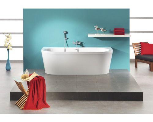 Freistehende Badewanne Messina 180x79 cm weiß mit Ablaufgarnitur