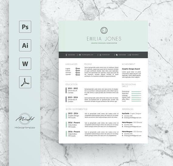 Pastel Blue Professional Resume Template / CV template / FREE Cover - professional resume template free