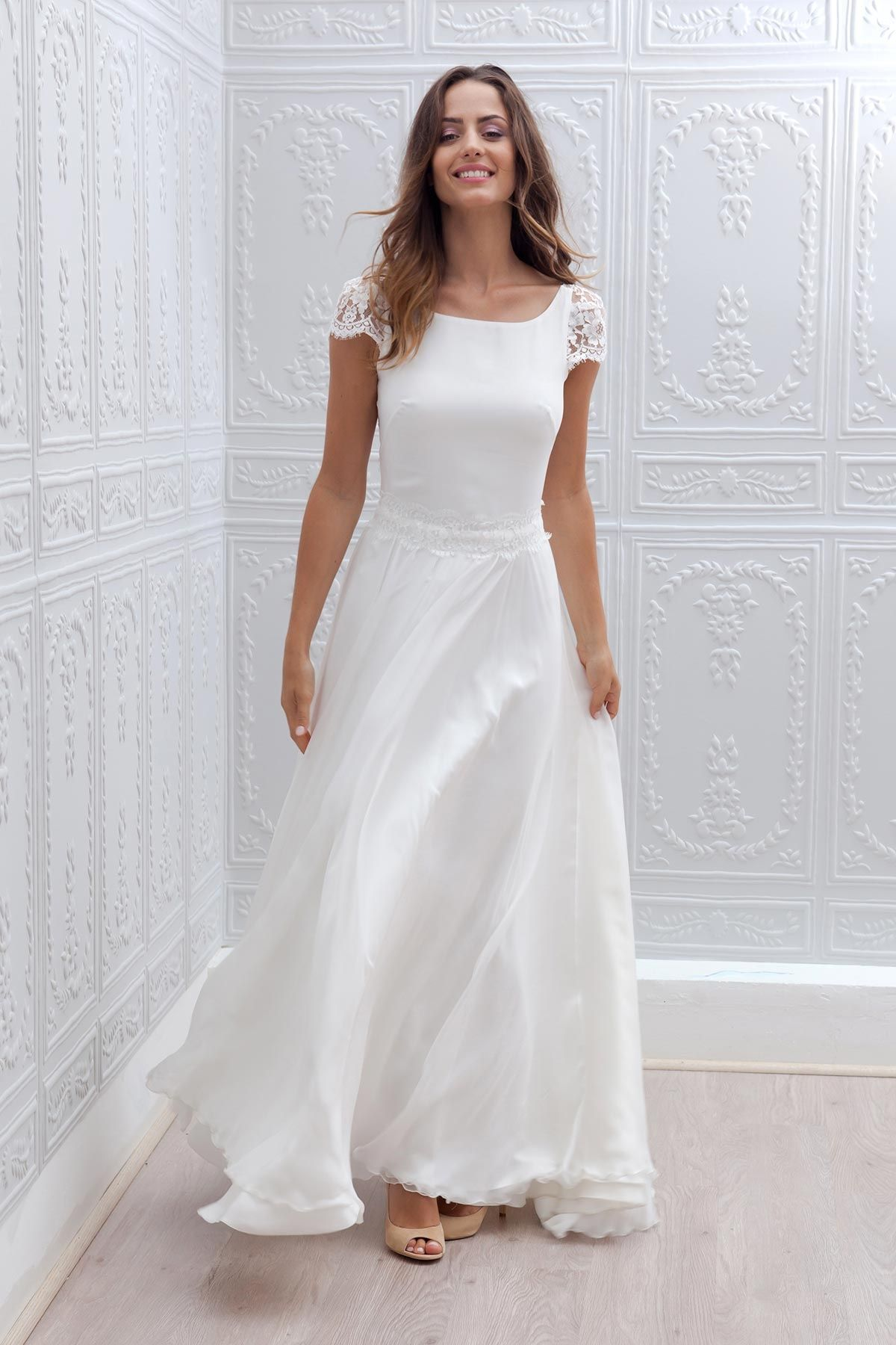 Simple Short Wedding Dress With Sleeves