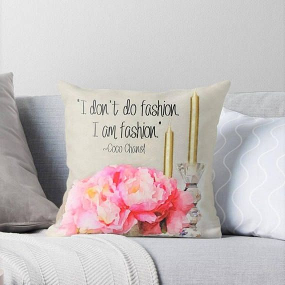 #amFashion #CocoChanelQuote #ChanelHomeDecor  Coco Chanel Quote Pillow Glam Pillow Cover Fashion Pillow